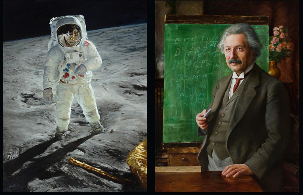 Buzz Aldrin and Albert Einstein by Pavel Sokov